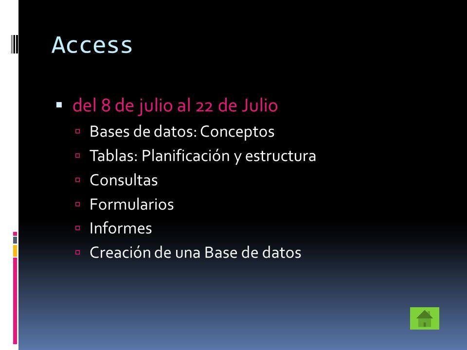 Access del 8 de julio al 22 de Julio Bases de datos: Conceptos
