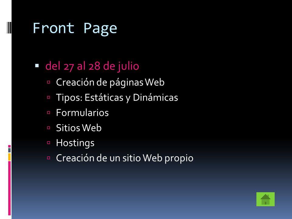 Front Page del 27 al 28 de julio Creación de páginas Web