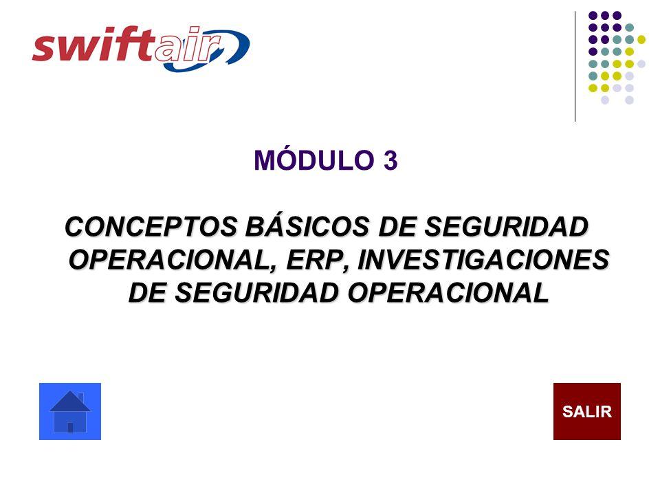 MÓDULO 3 CONCEPTOS BÁSICOS DE SEGURIDAD OPERACIONAL, ERP, INVESTIGACIONES DE SEGURIDAD OPERACIONAL.