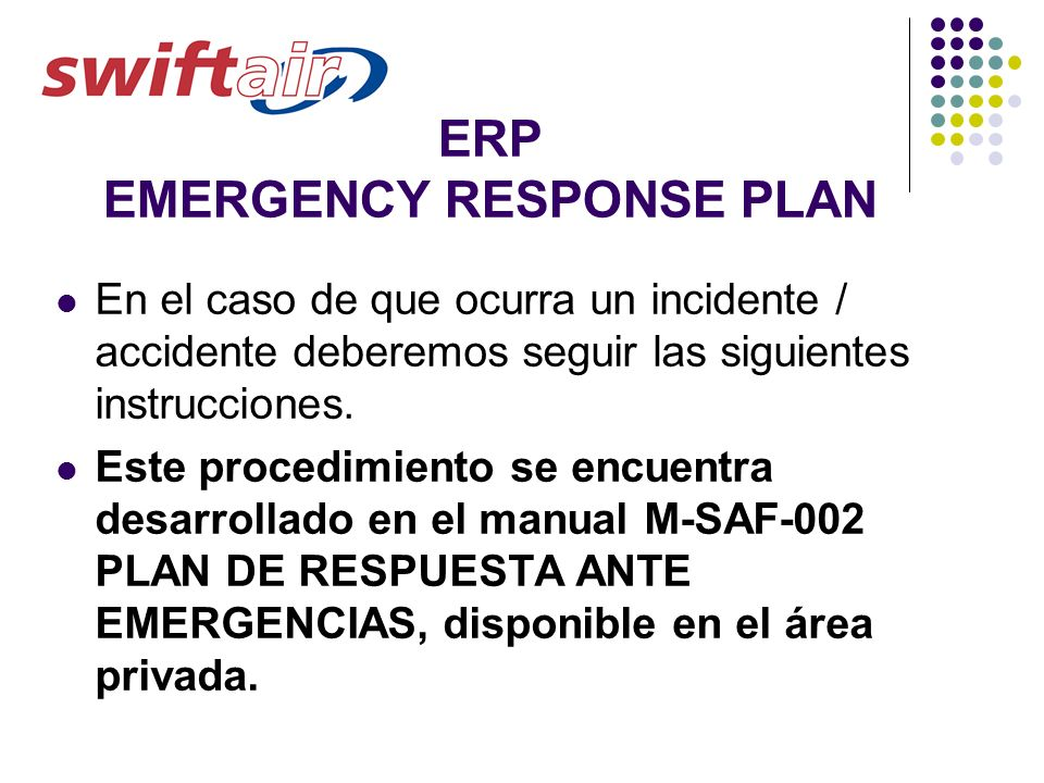ERP EMERGENCY RESPONSE PLAN