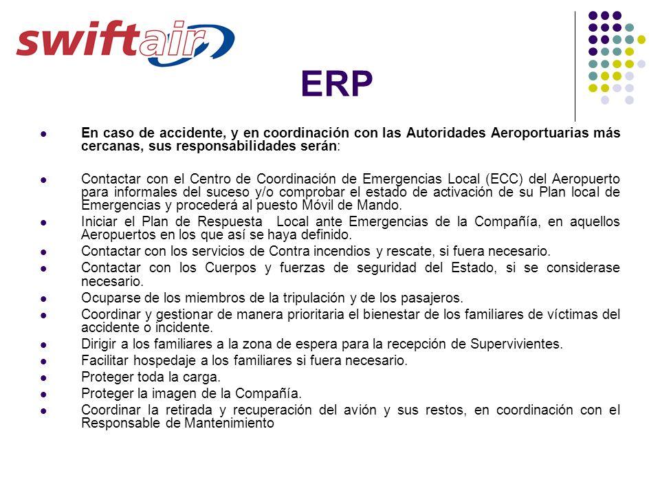 ERP En caso de accidente, y en coordinación con las Autoridades Aeroportuarias más cercanas, sus responsabilidades serán: