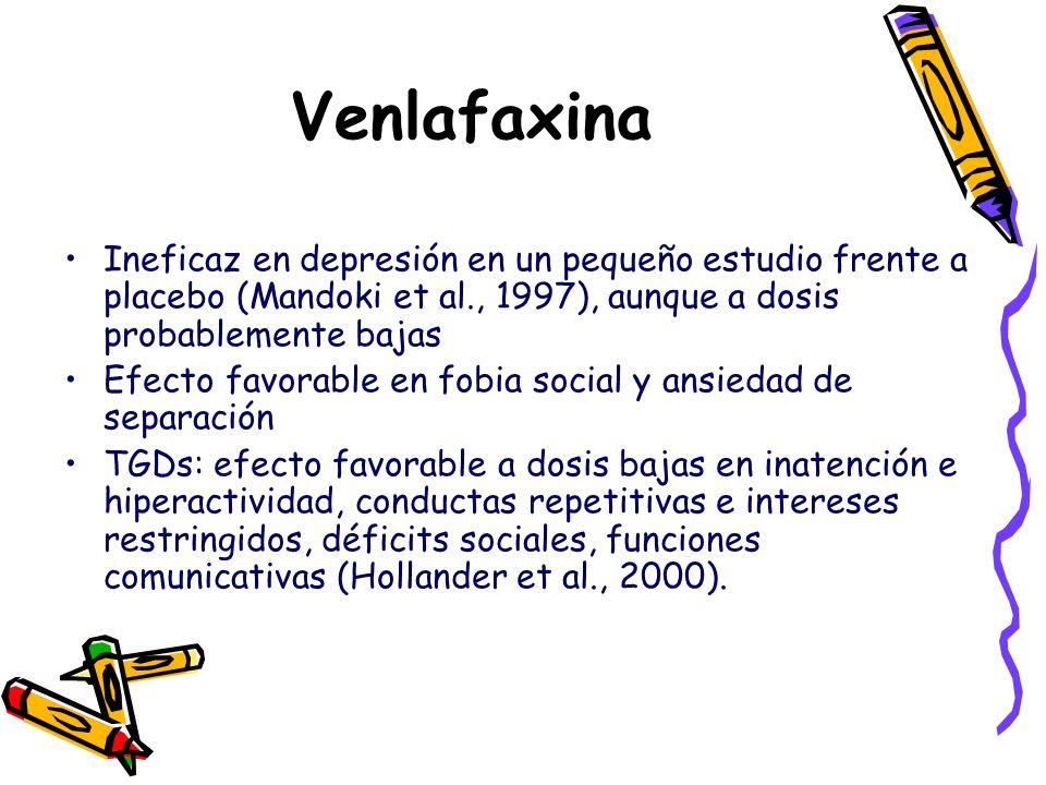Venlafaxina Ineficaz en depresión en un pequeño estudio frente a placebo (Mandoki et al., 1997), aunque a dosis probablemente bajas.