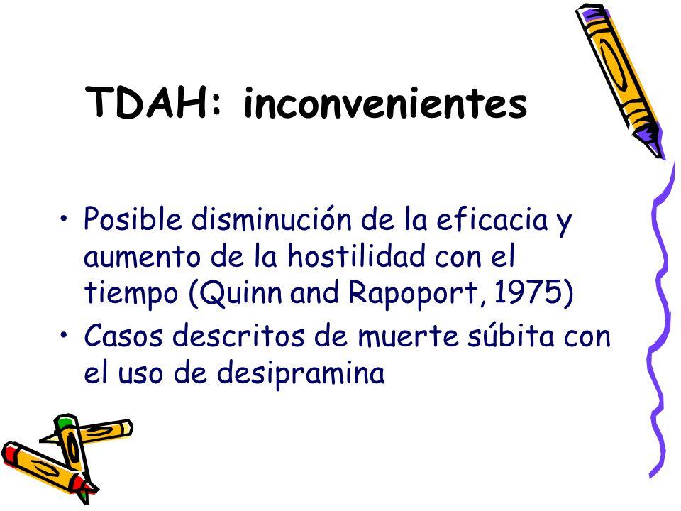 TDAH: inconvenientes Posible disminución de la eficacia y aumento de la hostilidad con el tiempo (Quinn and Rapoport, 1975)