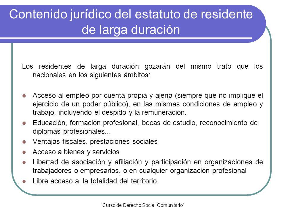 Contenido jurídico del estatuto de residente de larga duración