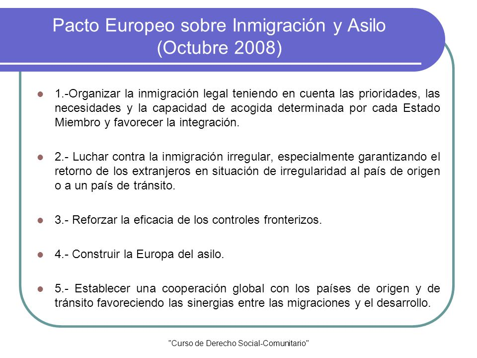 Pacto Europeo sobre Inmigración y Asilo (Octubre 2008)
