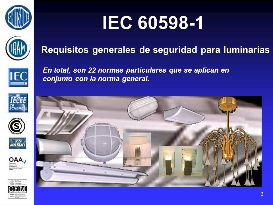 Requisitos generales de seguridad para luminarias