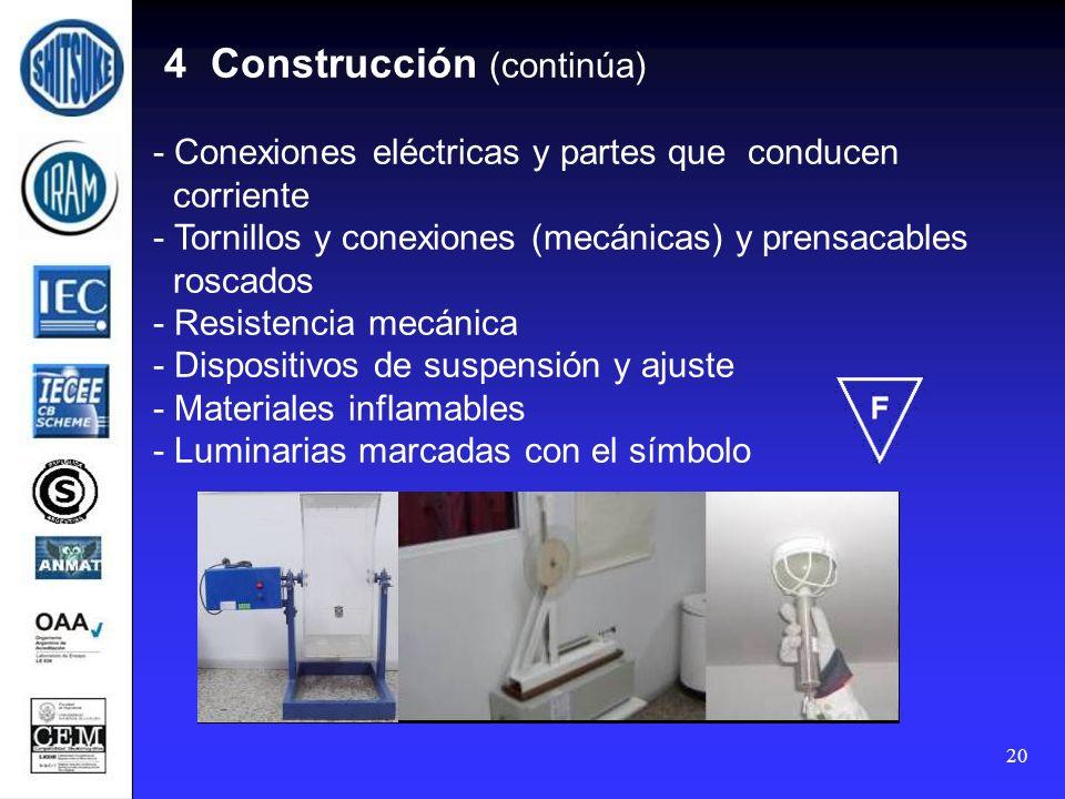 4 Construcción (continúa) - Conexiones eléctricas y partes que conducen corriente - Tornillos y conexiones (mecánicas) y prensacables roscados - Resistencia mecánica - Dispositivos de suspensión y ajuste - Materiales inflamables