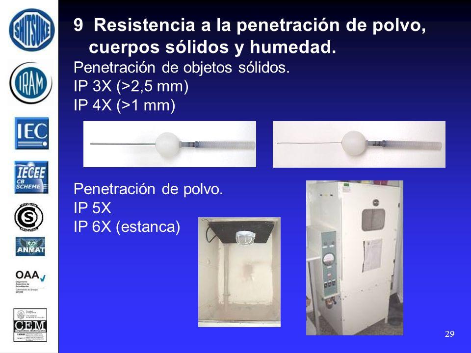 9 Resistencia a la penetración de polvo, cuerpos sólidos y humedad