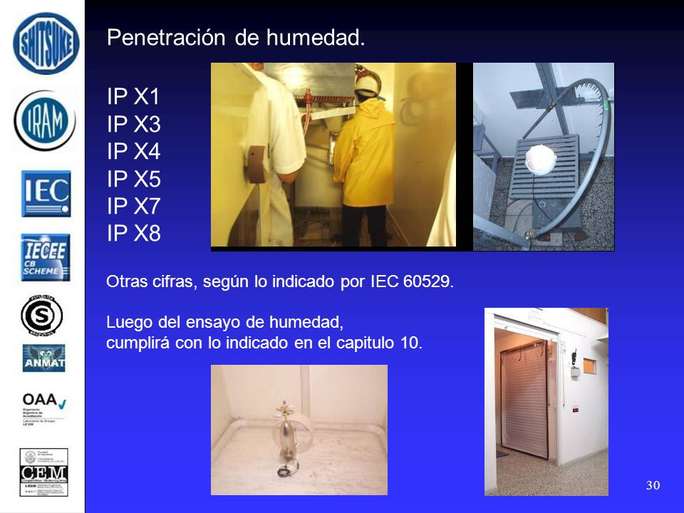 Penetración de humedad. IP X1 IP X3 IP X4 IP X5 IP X7 IP X8