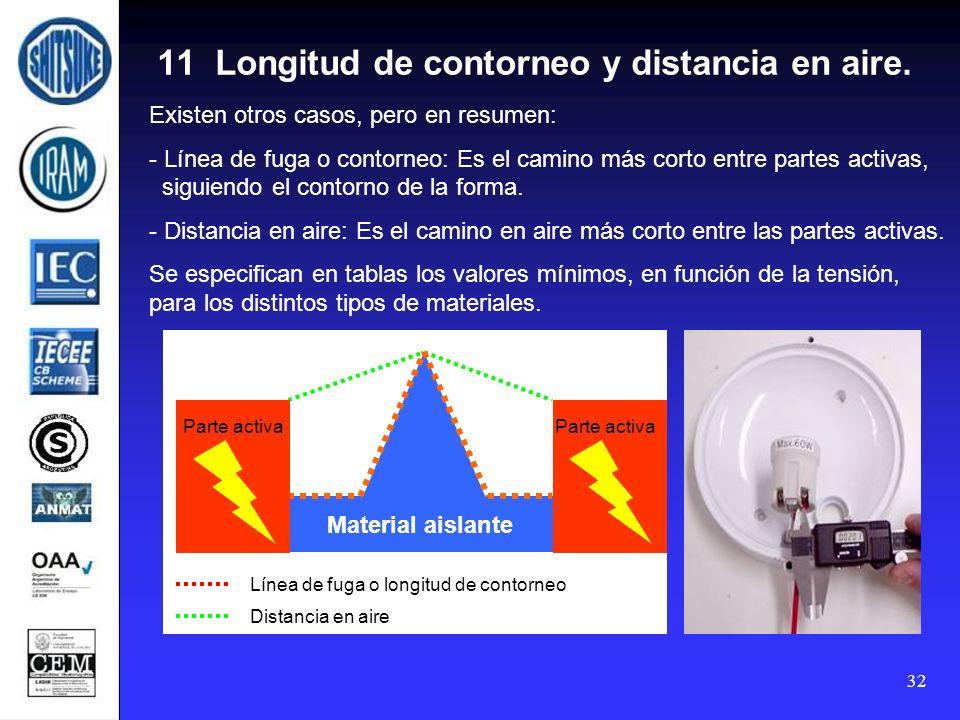 11 Longitud de contorneo y distancia en aire.