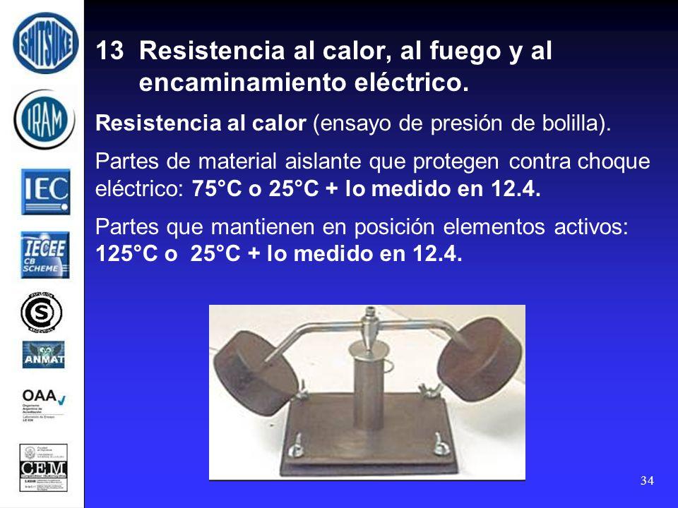 13 Resistencia al calor, al fuego y al encaminamiento eléctrico