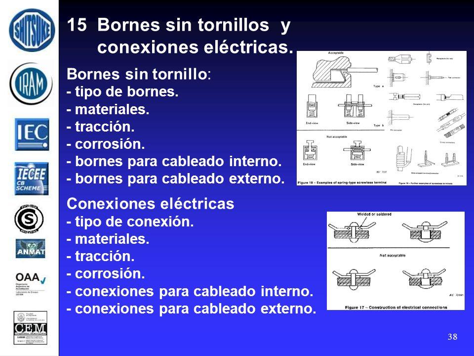 15 Bornes sin tornillos y conexiones eléctricas
