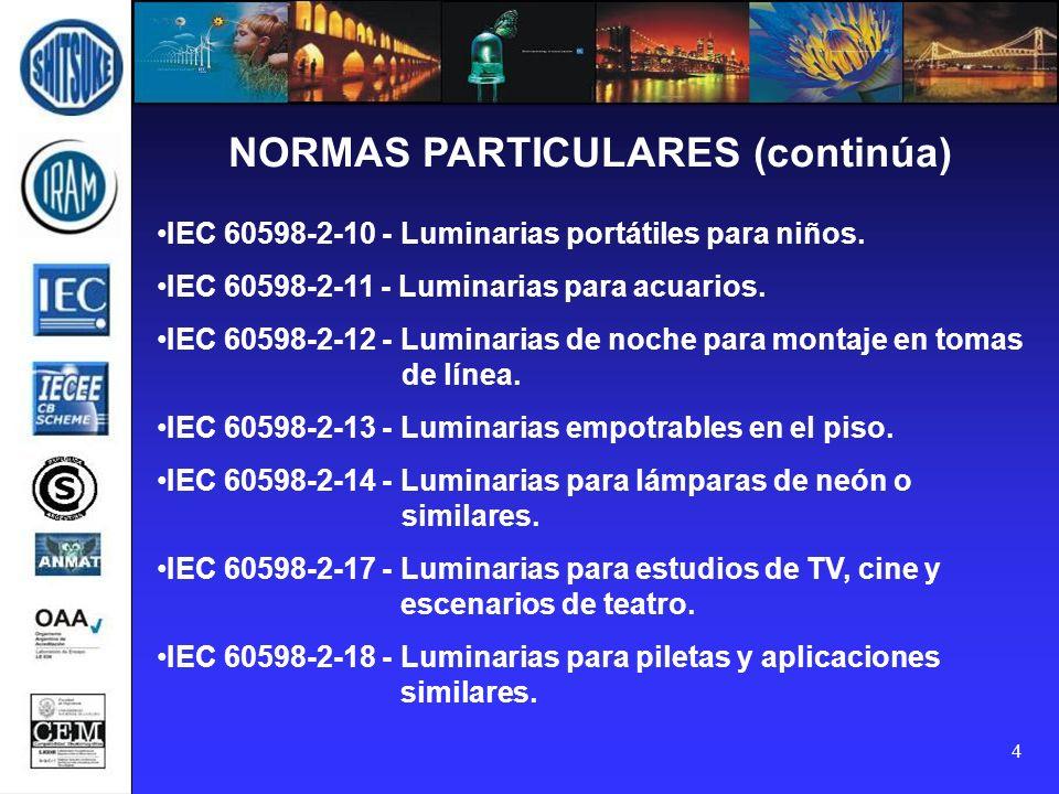 NORMAS PARTICULARES (continúa)