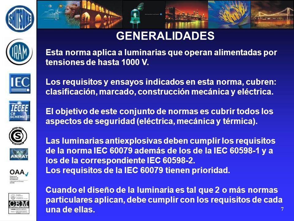 GENERALIDADES Esta norma aplica a luminarias que operan alimentadas por tensiones de hasta 1000 V.
