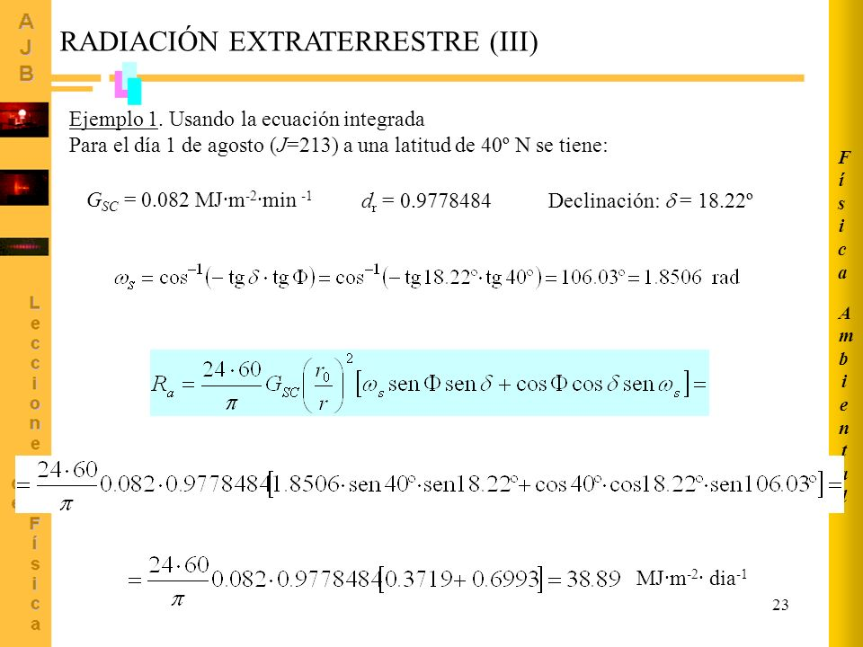 RADIACIÓN EXTRATERRESTRE (III)