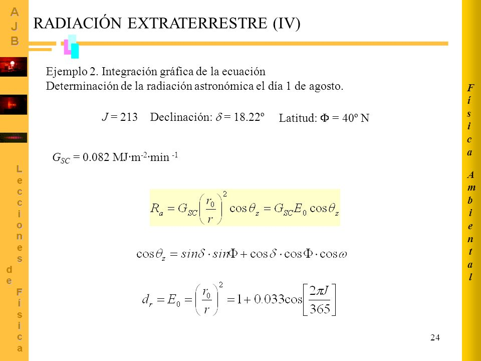 RADIACIÓN EXTRATERRESTRE (IV)