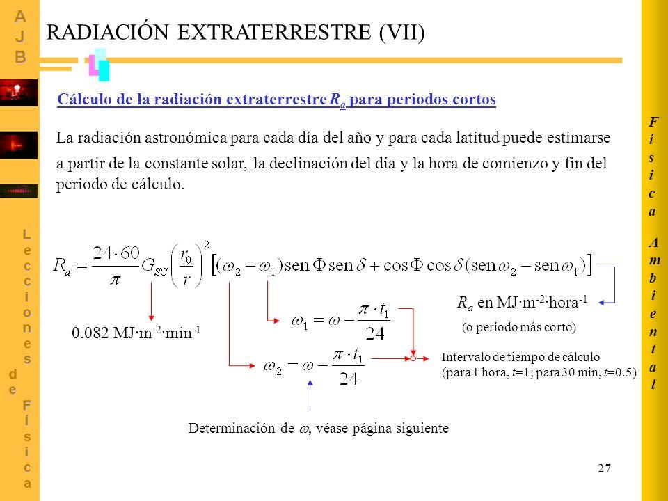 RADIACIÓN EXTRATERRESTRE (VII)
