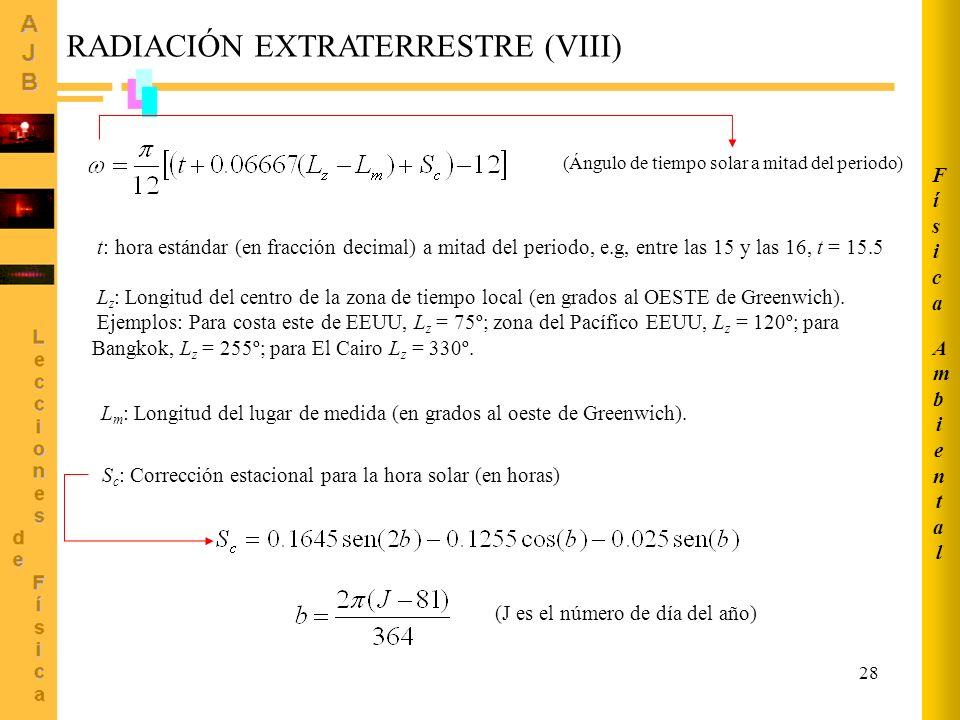 RADIACIÓN EXTRATERRESTRE (VIII)