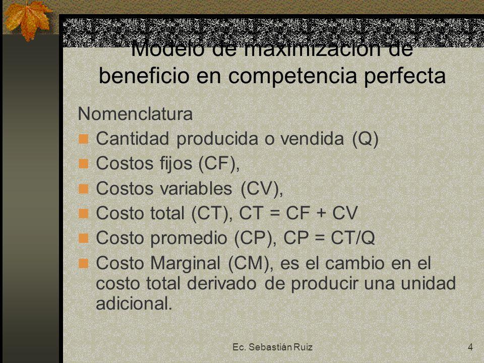 Modelo de maximización de beneficio en competencia perfecta