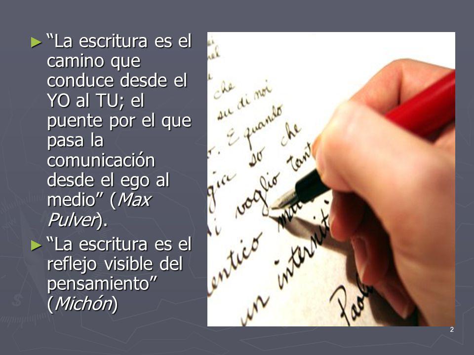 La escritura es el camino que conduce desde el YO al TU; el puente por el que pasa la comunicación desde el ego al medio (Max Pulver).