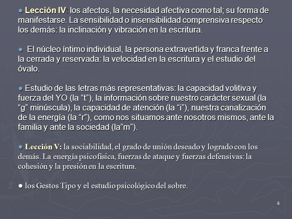 ● Lección IV: los afectos, la necesidad afectiva como tal; su forma de manifestarse. La sensibilidad o insensibilidad comprensiva respecto los demás: la inclinación y vibración en la escritura.