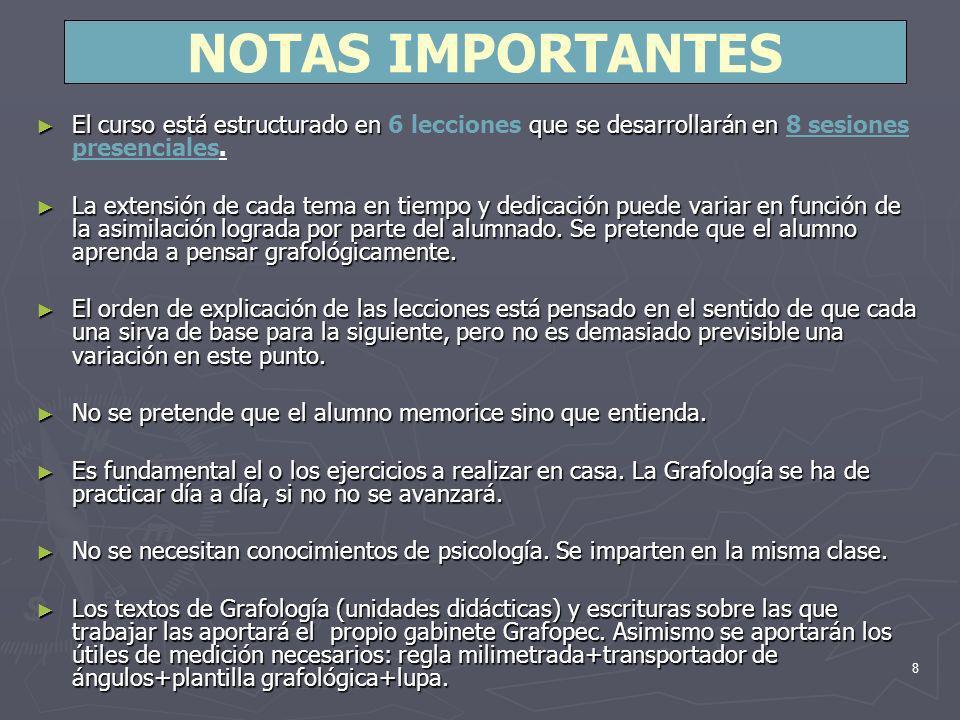 NOTAS IMPORTANTES El curso está estructurado en 6 lecciones que se desarrollarán en 8 sesiones presenciales.