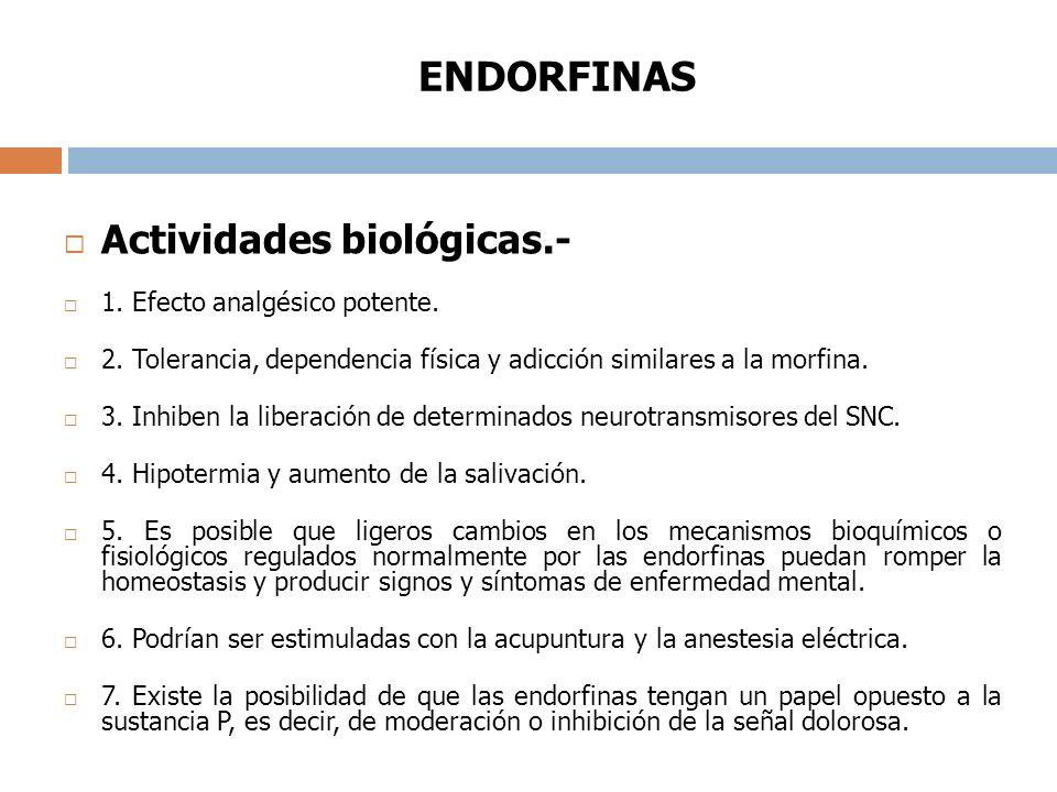 ENDORFINAS Actividades biológicas.- 1. Efecto analgésico potente.