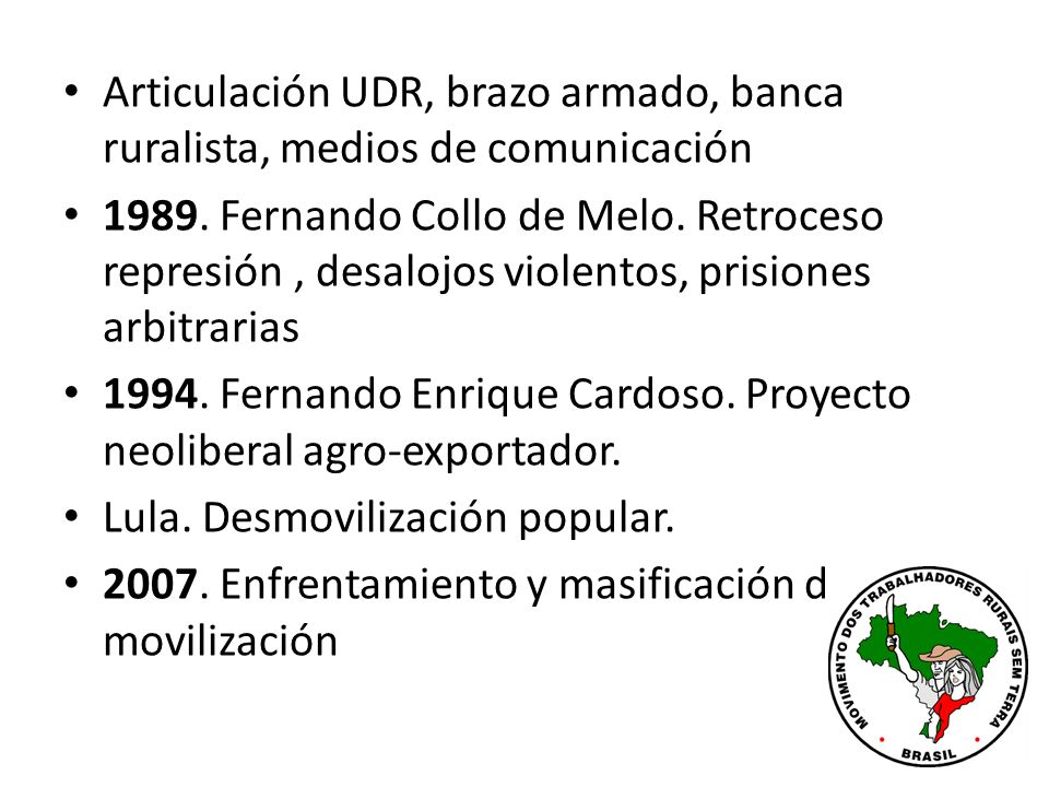 Articulación UDR, brazo armado, banca ruralista, medios de comunicación