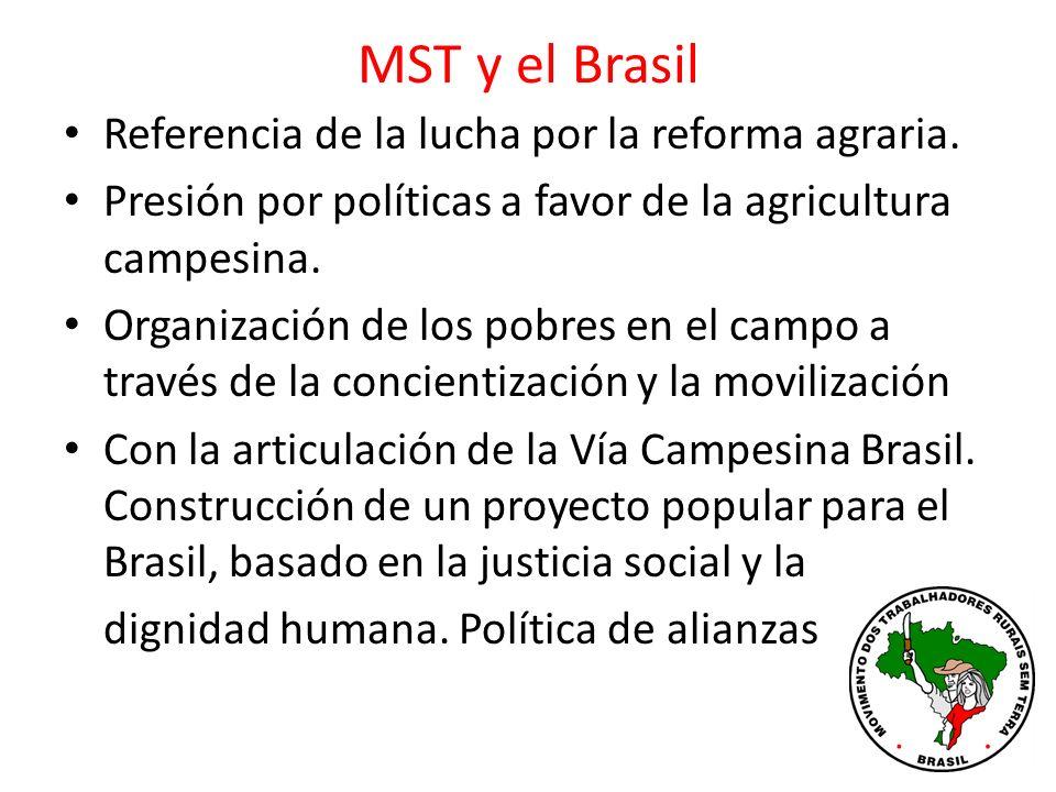 MST y el Brasil Referencia de la lucha por la reforma agraria.