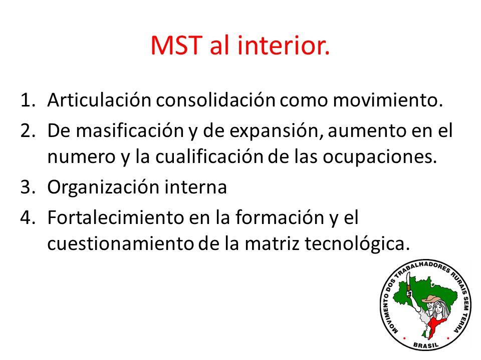MST al interior. Articulación consolidación como movimiento.
