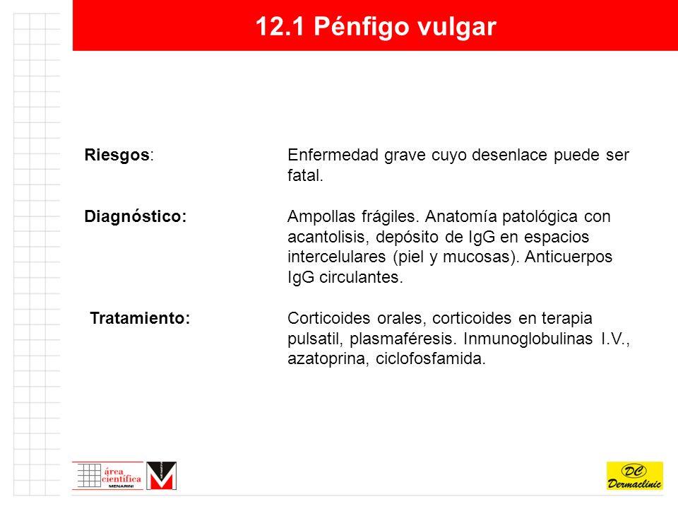 12.1 Pénfigo vulgar Riesgos: Enfermedad grave cuyo desenlace puede ser fatal.