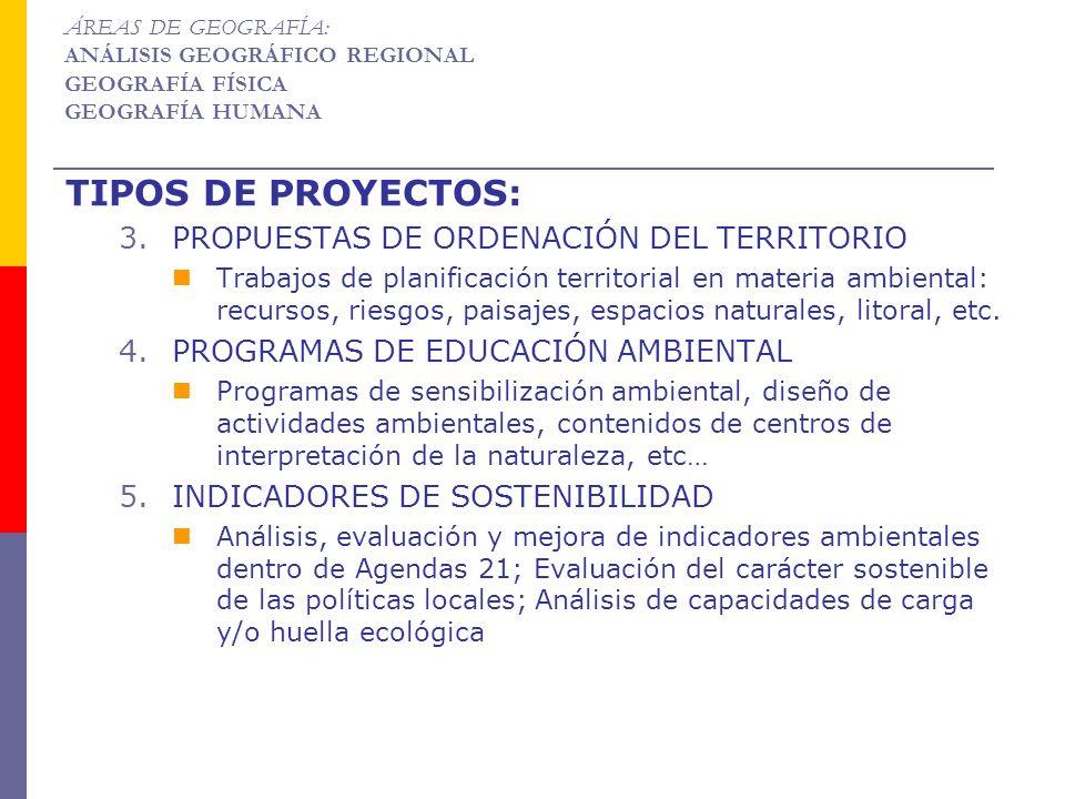 TIPOS DE PROYECTOS: PROPUESTAS DE ORDENACIÓN DEL TERRITORIO