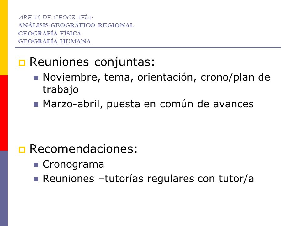 Reuniones conjuntas: Recomendaciones: