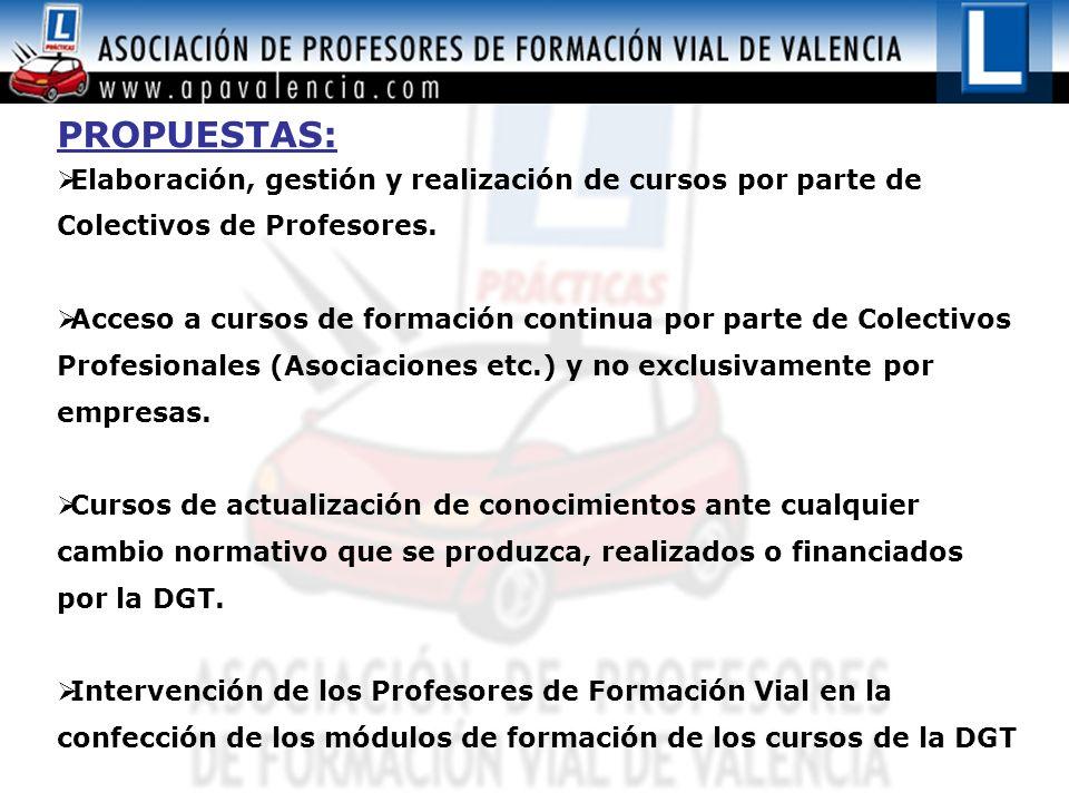 PROPUESTAS: Elaboración, gestión y realización de cursos por parte de Colectivos de Profesores.