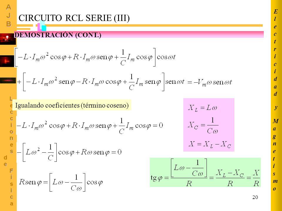 CIRCUITO RCL SERIE (III)
