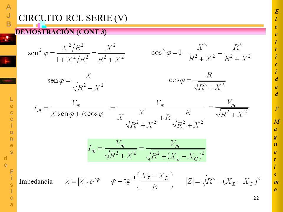 CIRCUITO RCL SERIE (V) DEMOSTRACIÓN (CONT 3) Impedancia Electricidad y