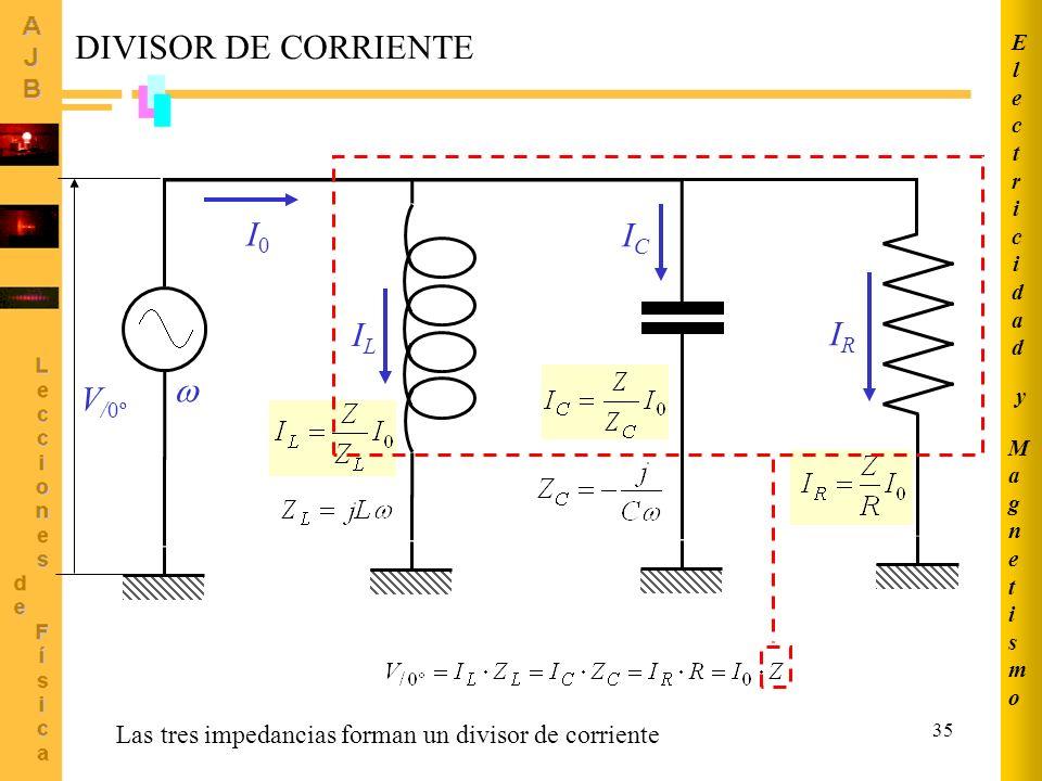 DIVISOR DE CORRIENTE I0 IC IL IR  V/0º