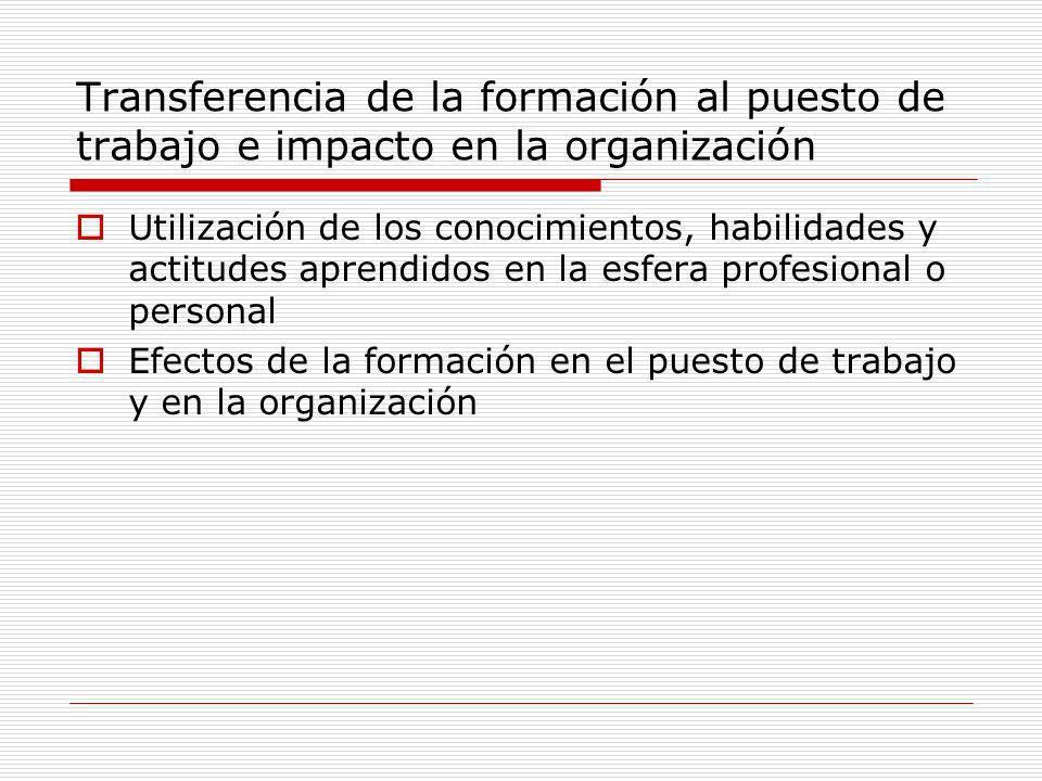Transferencia de la formación al puesto de trabajo e impacto en la organización