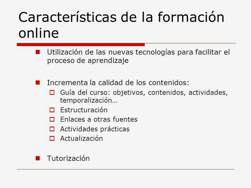 Características de la formación online