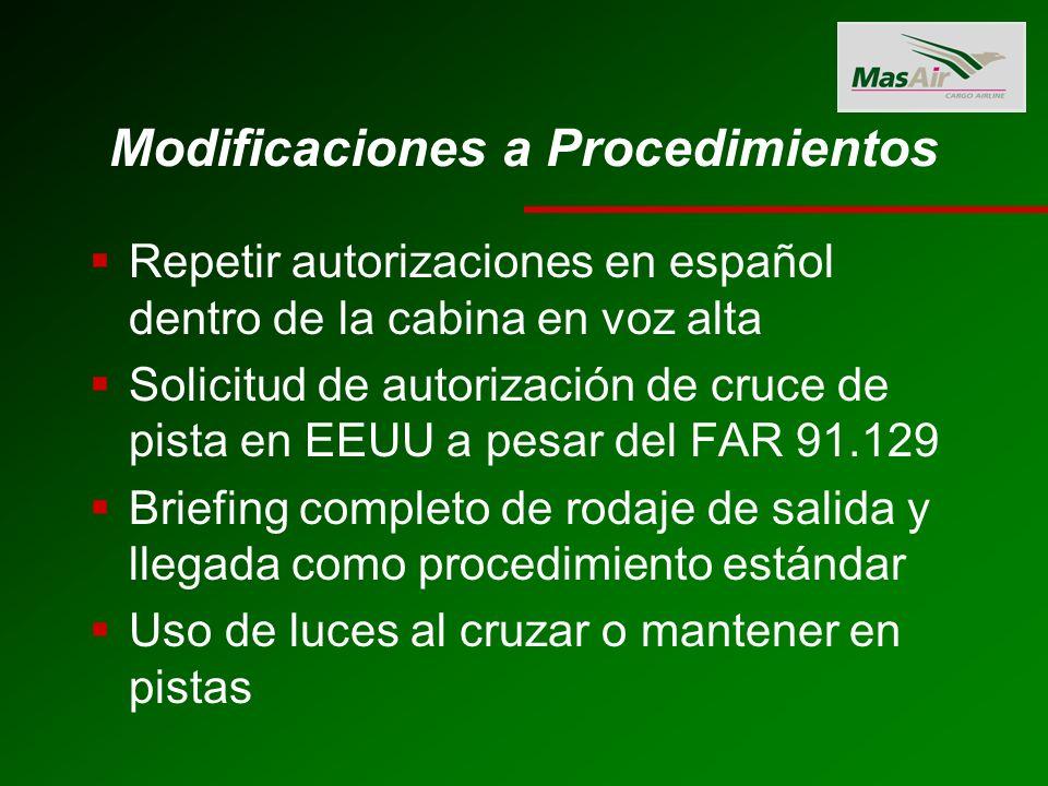 Modificaciones a Procedimientos