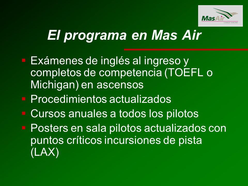 El programa en Mas Air Exámenes de inglés al ingreso y completos de competencia (TOEFL o Michigan) en ascensos.