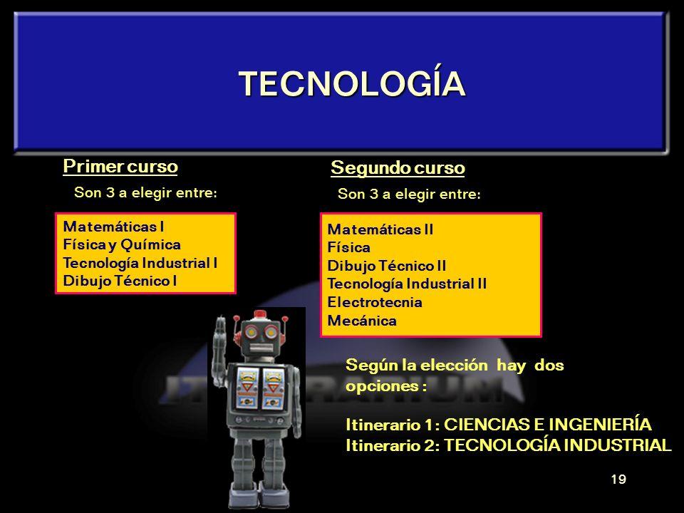 TECNOLOGÍA Primer curso Segundo curso Según la elección hay dos