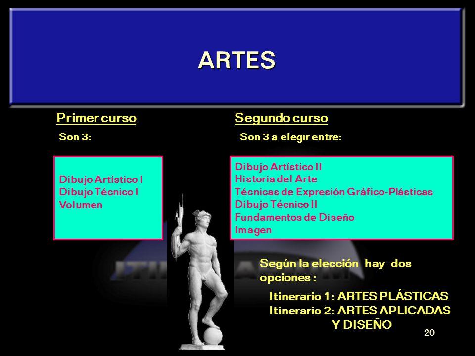 ARTES Primer curso Segundo curso Según la elección hay dos opciones :