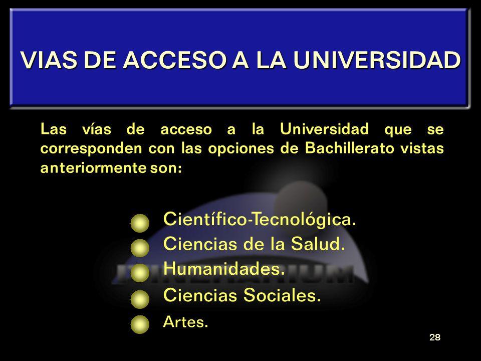 VIAS DE ACCESO A LA UNIVERSIDAD