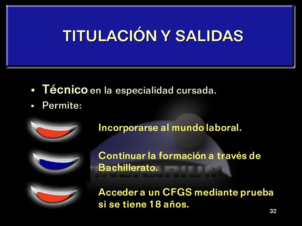 TITULACIÓN Y SALIDAS Técnico en la especialidad cursada. Permite: