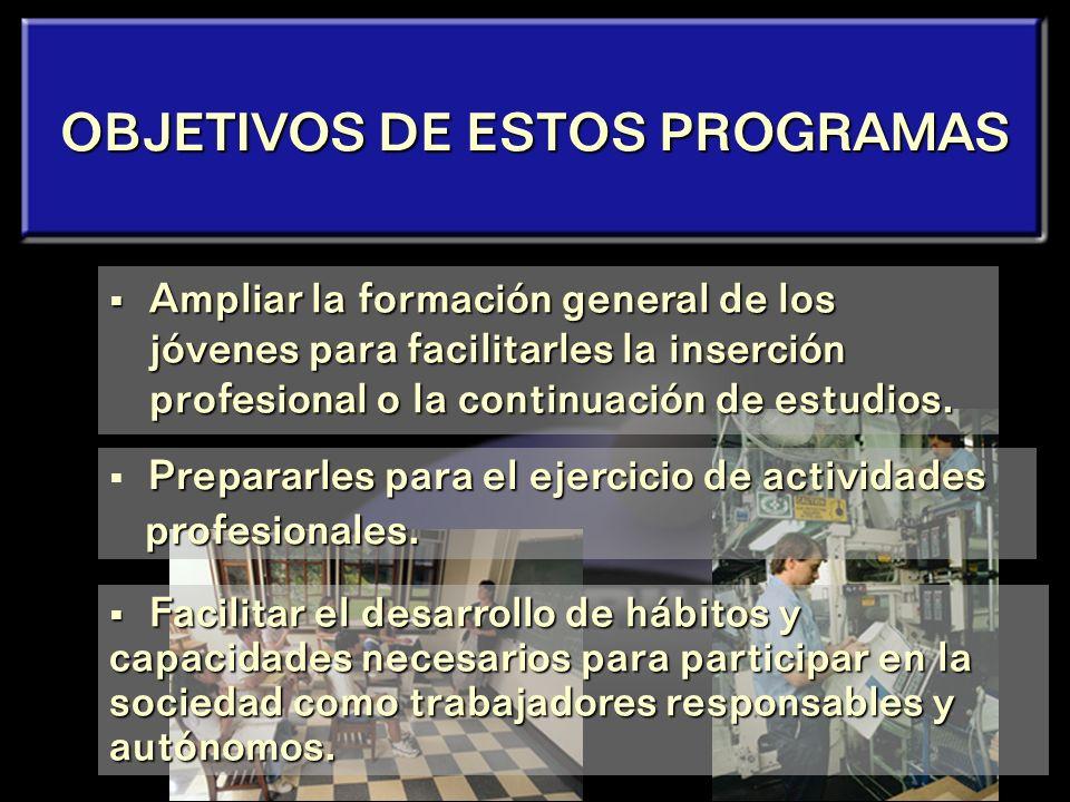 OBJETIVOS DE ESTOS PROGRAMAS