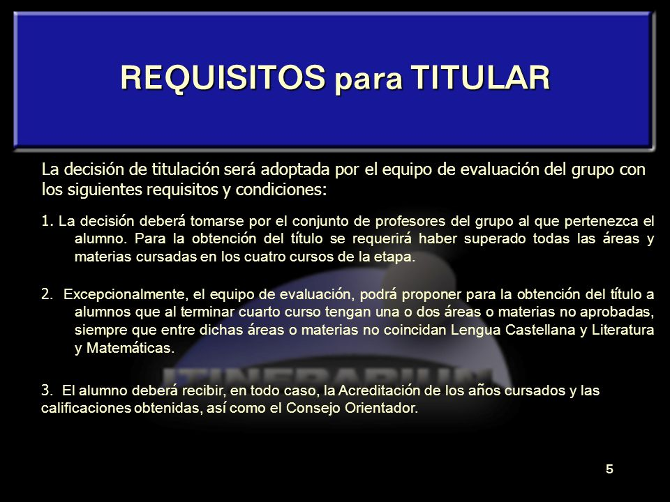 REQUISITOS para TITULAR