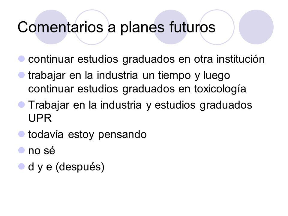 Comentarios a planes futuros