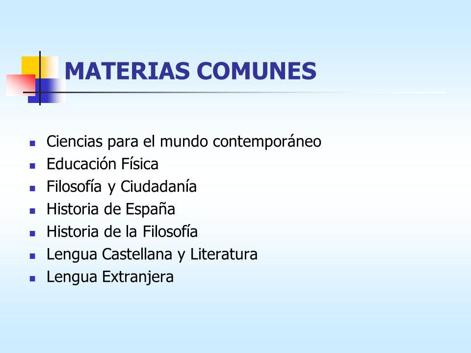 MATERIAS COMUNES Ciencias para el mundo contemporáneo Educación Física