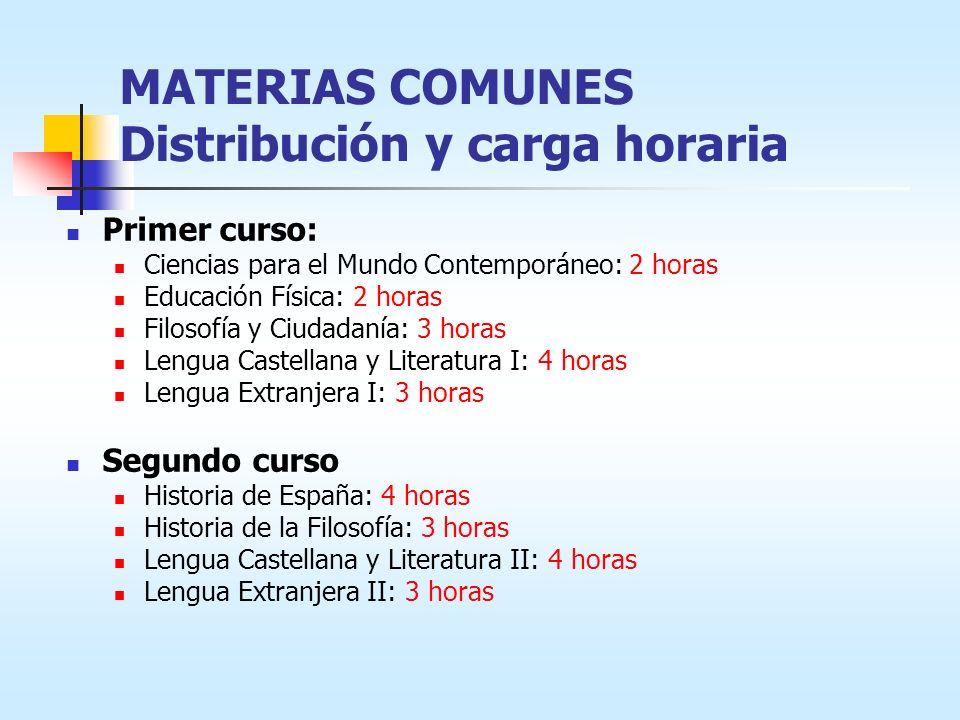 MATERIAS COMUNES Distribución y carga horaria